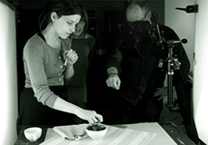 Sally Dunne at work with photographer Trevor Hart